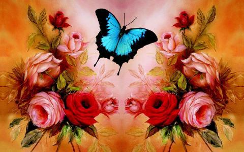 蓝色的蝴蝶,玫瑰