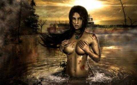 雾,雨,血,fanart,水,古墓丽影,女孩