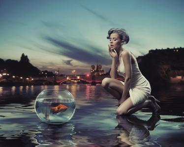 女孩,金发碧眼,水族馆,鱼,暮光之城,灯,桥,反射