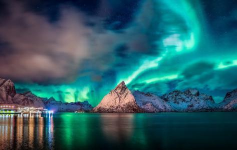 自然,景观,挪威,山,峡湾,水,光辉,夜