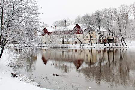 河,房子,雪,树,反射,冬天,组成