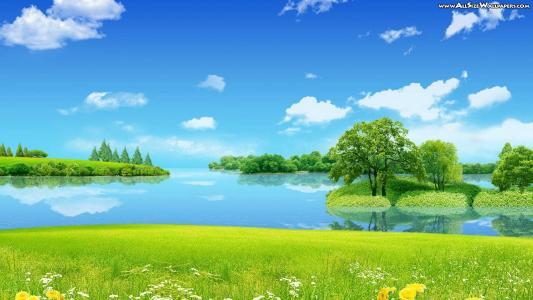 湖,山,天空,紫色,水,云