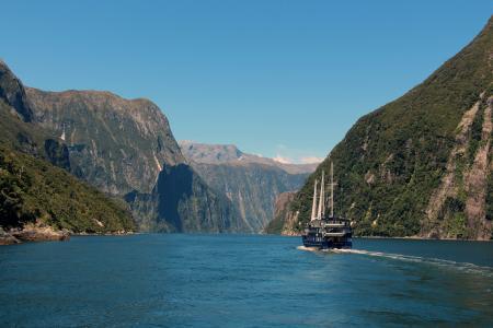 新西兰,山脉,帆船,湖泊,美景