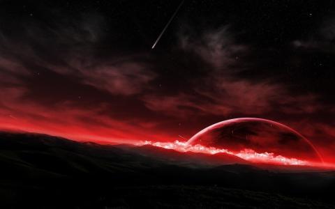 红色的星球,彗星,深红色的地平线