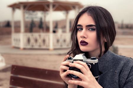 女孩,黑妞,化妆,长凳,凉亭,相机