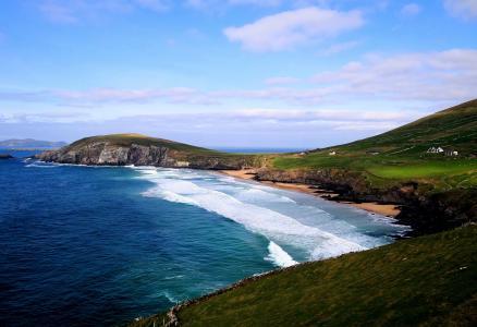 爱尔兰,海,海洋,草,绿党,斜坡