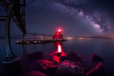 灯塔,晚上,桥,海,星星