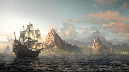 船,山,图片,旗鱼,海