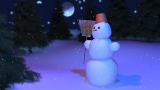 雪人,冬天的夜晚,雪人,月光下,雪,卡通雪人