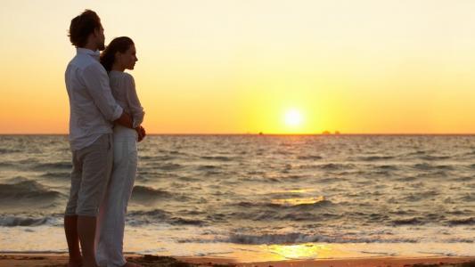 日落,海洋,天空,太阳,射线,女孩,男人,爱,浪漫,美女,温柔