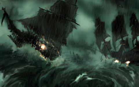 风暴,船,波浪,风,枪