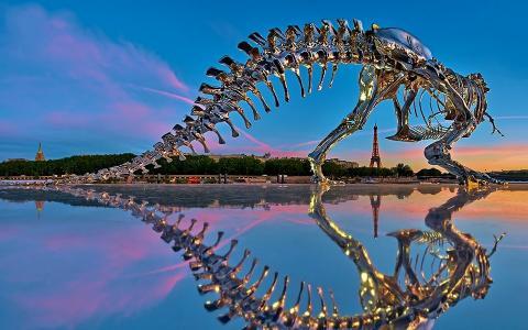 雕塑,巴黎,恐龙,铬