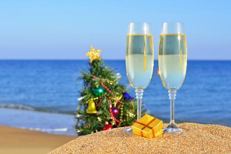 假日,海,海洋,新的一年,沙,海滩,圣诞节
