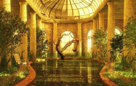 室内,水,雕像,房间,游泳池,艺术
