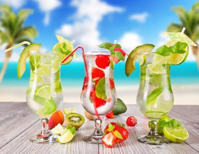 鸡尾酒,美味,宏观背景,有用,夏天