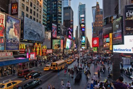 汽车,人,广告,灰色,纽约,建筑物