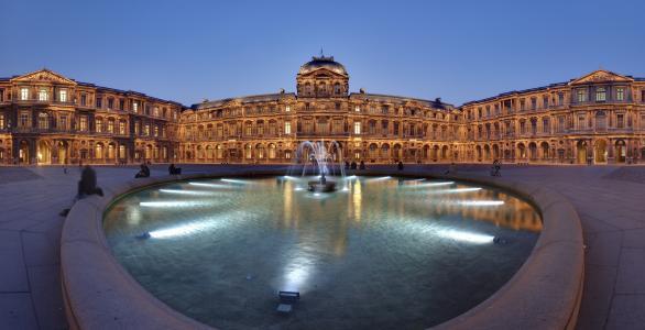 法国,罗浮宫,法国,卢浮宫,全景,灯,晚上,喷泉