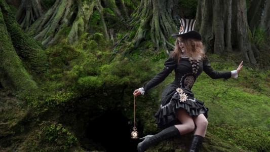 女孩,森林