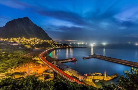 城市,海岸,湾,灯,照明,美女,夜晚,天空