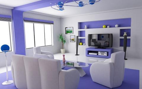 房子和舒适,美丽,客厅,白色的蓝色兴趣,电视