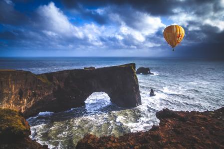 自然,海,气球,天空,云,美丽