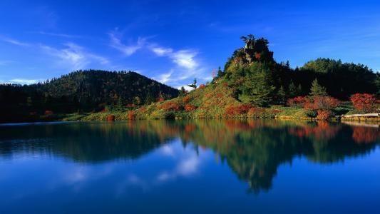杂草丛生的山,红色的灌木丛,镜子水