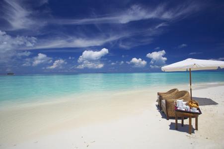 马尔代夫,岛,度假村,海洋,沙滩,休息,天空,云,下午茶