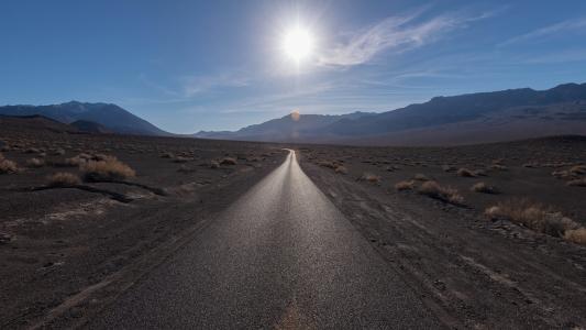 路,山,草原,光,太阳