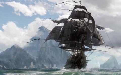 艺术,绘画,海盗,旗鱼,绘画