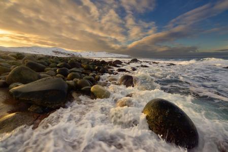 天空,海,冲浪,巨石,Teriberka,科拉半岛,照片,马克西姆Evdokimov