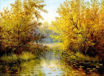 图片,绘画,性质,河,树,秋,鸟,黄色背景