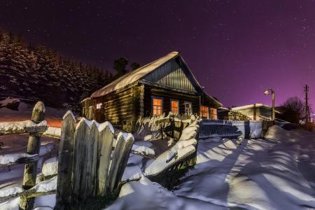 ivel,乌拉尔,冬天,霜,晚上,房子,斯维尔德洛夫斯克州,北,基里尔Uyutnov