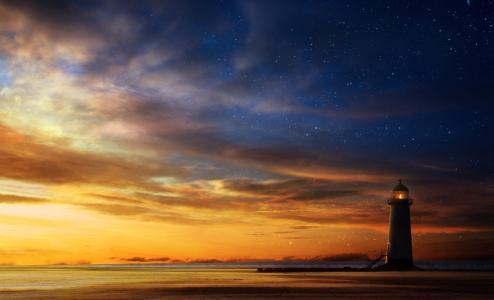 日落,天空,艺术,海,灯塔,星星