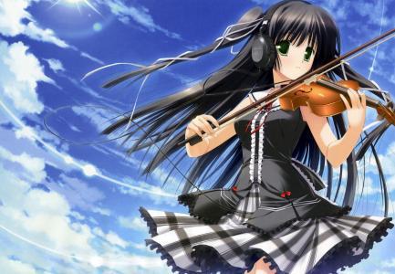 天空,耳机,女孩,形状,动漫,看,小提琴