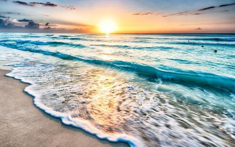 岸边,沙滩,大海,海浪,黎明
