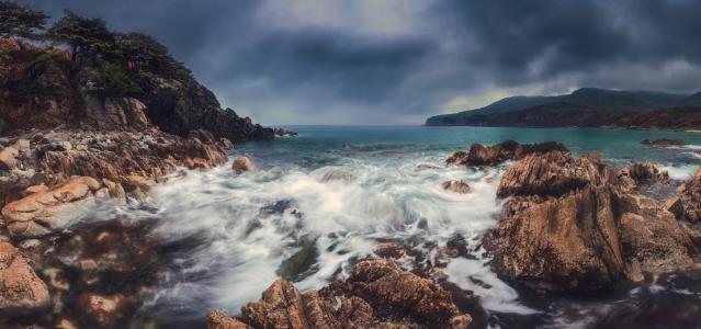 全景,海,秋,悬崖,滨海边疆区,Telyakovsky湾,安德烈Krovlin