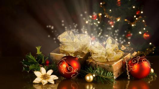 新年,红色,装饰品,礼品,盛宴