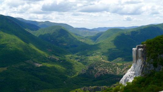 墨西哥,山,谷,绿化,美女,摇滚