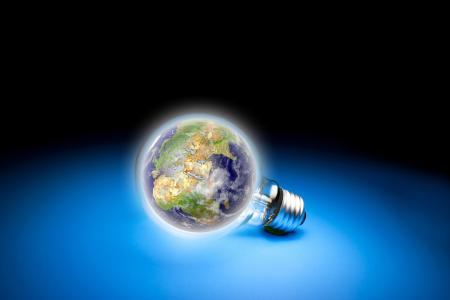 行星,地球,3D,灯泡