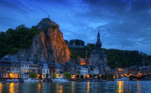 比利时,房屋,河,瓦隆,夜,城市