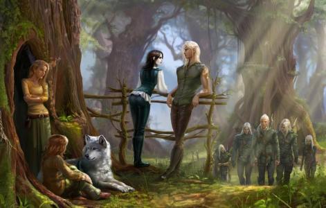 栏杆,树,弓箭手,艺术,森林,狼,精灵