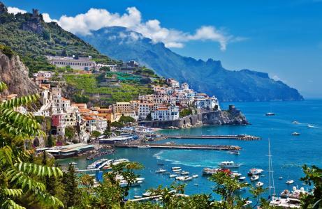 海,房屋,建筑物,天空,意大利,山,意大利,树木