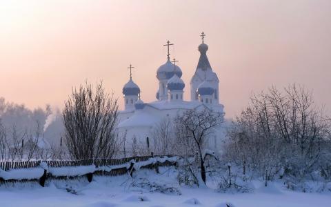 教堂,冬天,雪