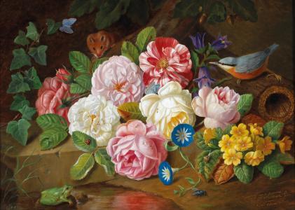 约瑟夫Holstayn,绘画,花卉,鸟,老鼠,青蛙,绘画