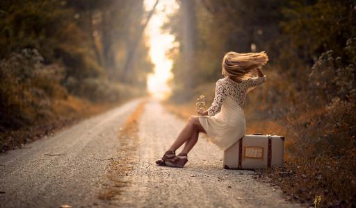 女孩,金发,路,手提箱,秋天