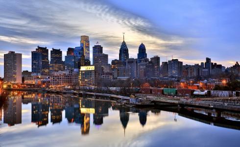 费城,美国费城,晚上,摩天大楼,码头,河,特拉华州,反思
