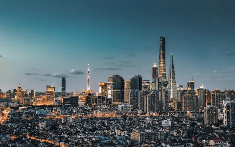 华灯初上的上海魔都夜色风光