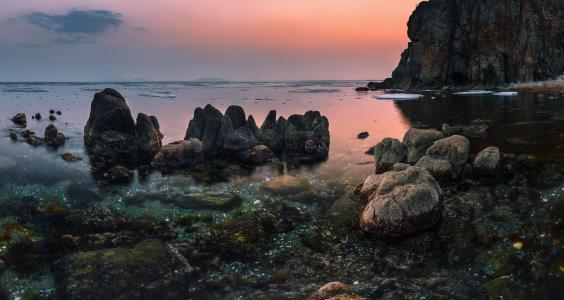 春天,晚上,海,岩石,石头,海滨,安德烈Krovlin