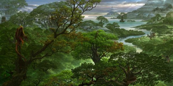 kazamasa uchio,幻想,龙,自然,艺术,美丽,图片,树木