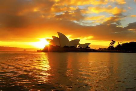 日落,悉尼,歌剧院